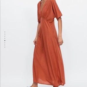 Zara Burnt Orange Midi Dress